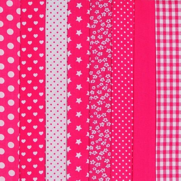 SALE Stoffpaket Baumwollstoff Pink 8 Stoffe