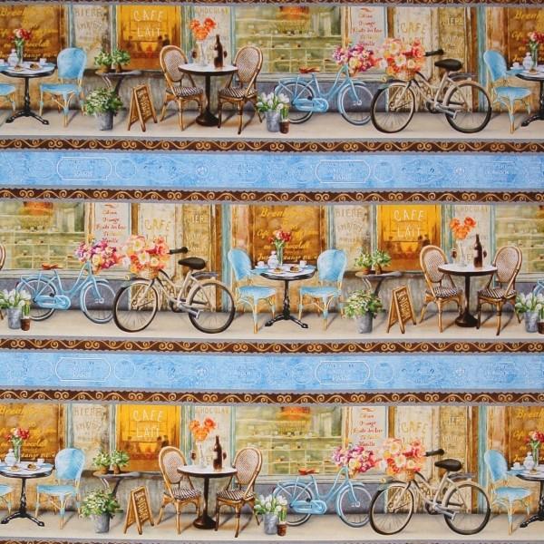 0,50 m Le Cafe Frühlingsblumen Fahrräder Bistro Bordüre*