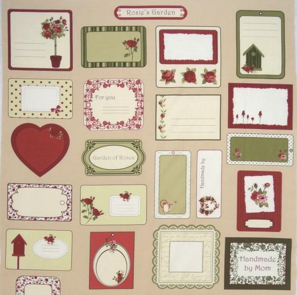 SALE Rosies Garden romantische Labels Rosen rot Panel