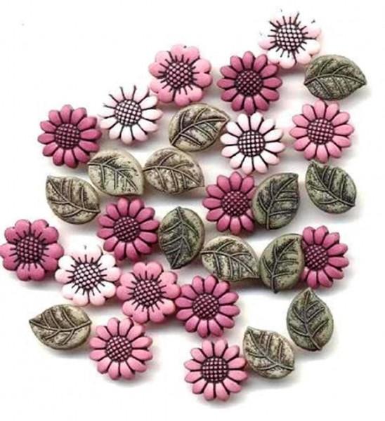 Knöpfe kleine Blumen Blätter