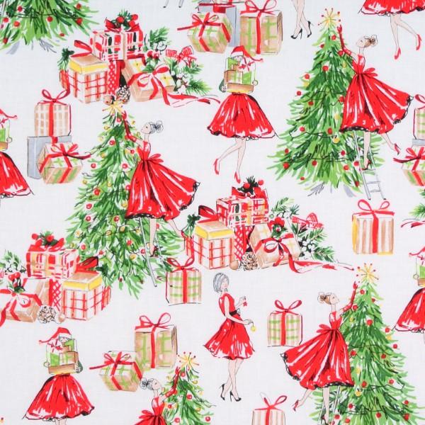 Weihnachten Frauen Weihnachtsbaum 50er Jahre Retro