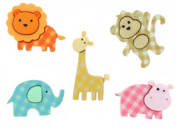 Motivknöpfe 5 Dekoknöpfe wilde Tiere Baby