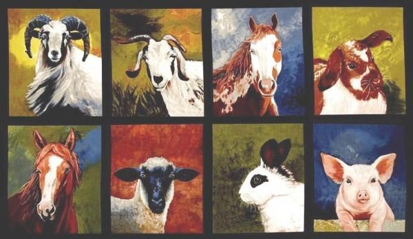 Patchworkstoff Bauernhof Tiere Panel
