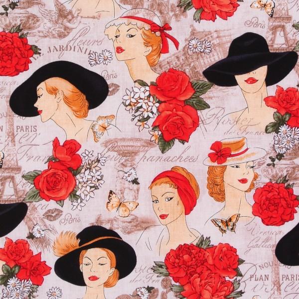 Paris Frauen Hüte Rosen Schrift