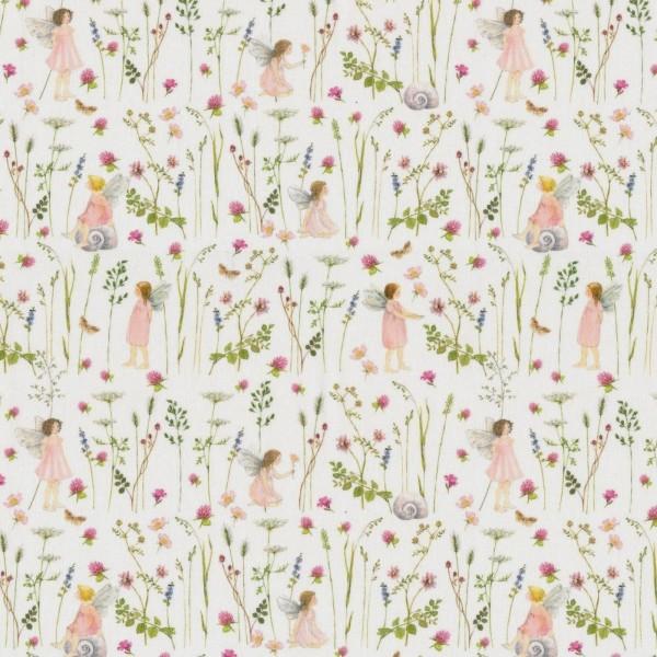 Baumwollstoff Elfengarten Feen rosa acufactum