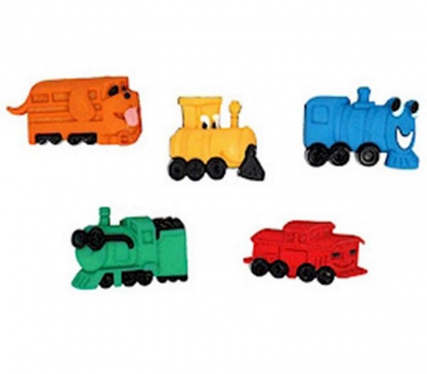 Motivknöpfe 5 Dekoknöpfe Eisenbahn Lokomotiven