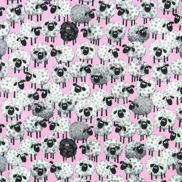 Patchworkstoff Susybee Lewe witzige Schafe rosa