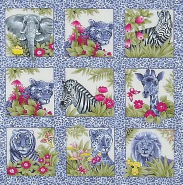 SALE 1 m Jungle Fun wilde Tiere kleine Bilder grau