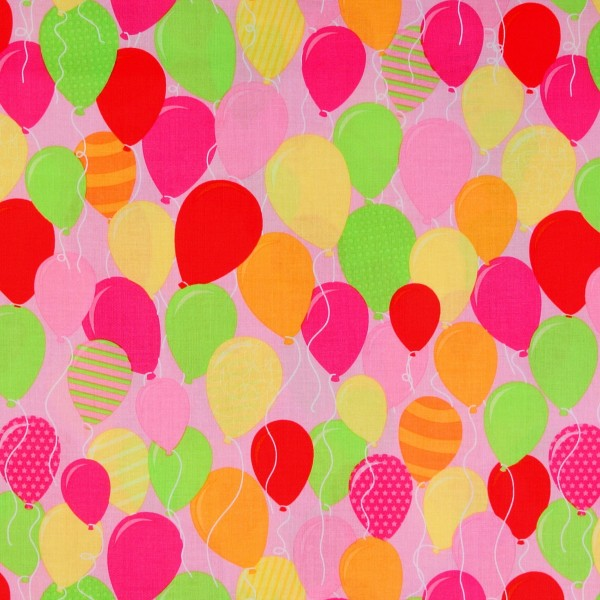 SALE 1 m Patchworkstoff Luftballons Kinderstoff rosa