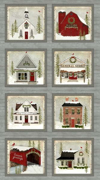 Patchworkstoff Weihnachten Snow Village Panel