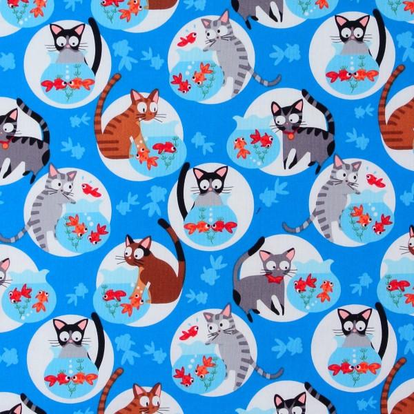 Katzenstoff Katzen Goldfische blau