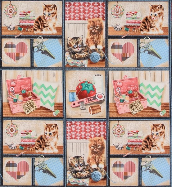 Sale 1,0 m Krafty Kitten Katzen Nähutensilien Bilder