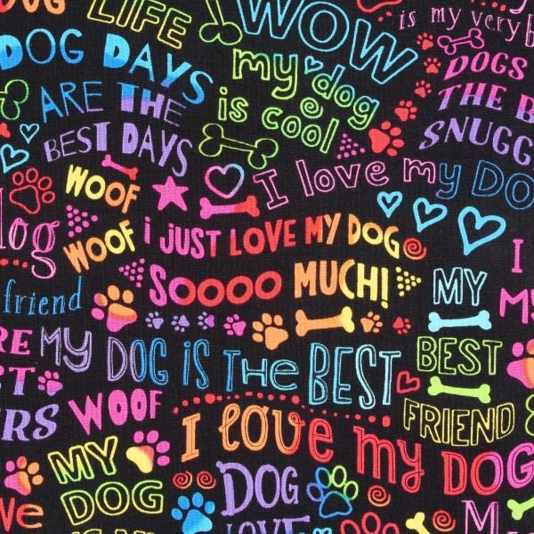 Patchworkstoff I love my Dog Hunde Regenbogen