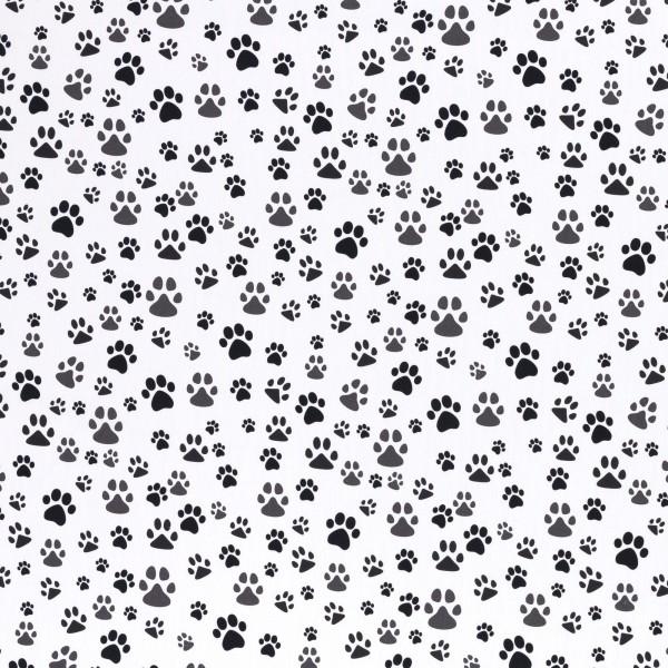 Baumwollstoff Dekostoff Tiere Pfoten schwarz-weiß