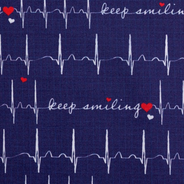 Baumwollstoff Dekostoff EKG Herzlinien dunkelblau