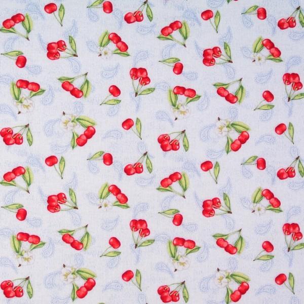 Patchworkstoff Baumwollstoff Kirschen Kirschblüten Obst