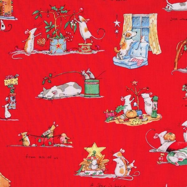Patchworkstoff Weihnachten kleine Mäuse rot