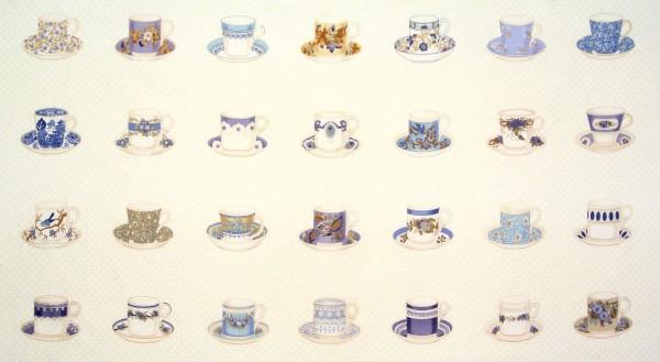Patchworkstoff Teetassen Teacups Lakehouse Panel blau