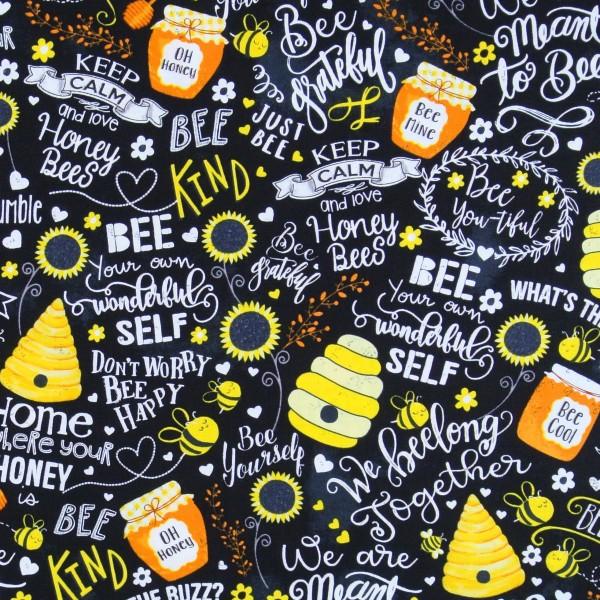 Patchworkstoff Bienen Sprüche Busy Bees