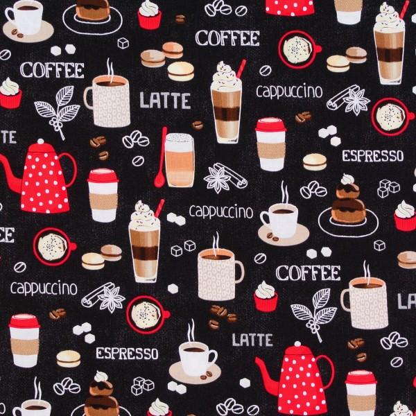 Patchworkstoff Kaffee Kaffeetassen Kaffeekannen