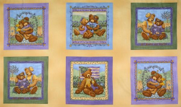 Patchworkstoff Bären Blumen Lavender and Lace Panel
