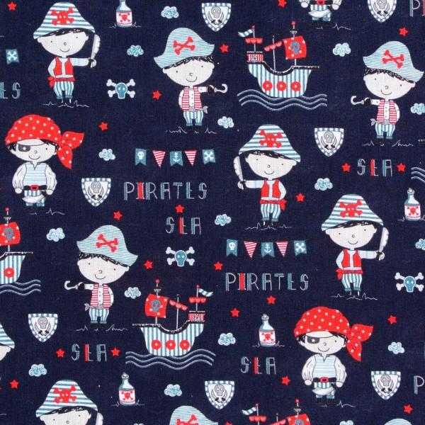 Baumwollstoff maritim kleine Piraten Schiffe dunkelblau