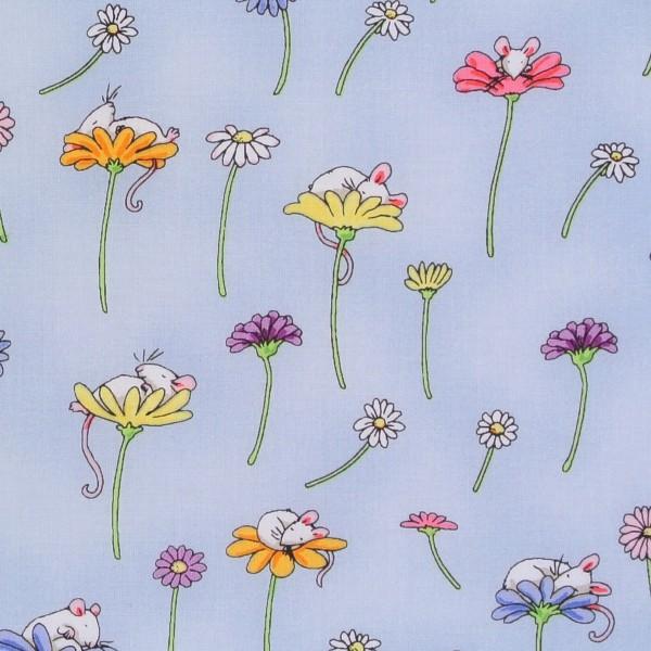 Daisy Daisy Blumen und kleine Mäuse hellblau