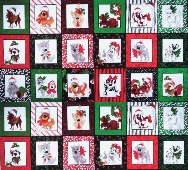SALE 0,95 m Loralie Hunde Christmas Dogs Panel