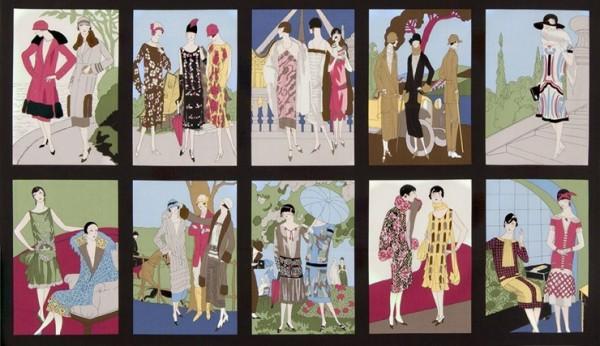 Vintage Frauen Mode Glamour Girls Panel rot