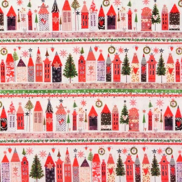 Weihnachten Häuser Häuserbordüre Baumwollstoff 1 m