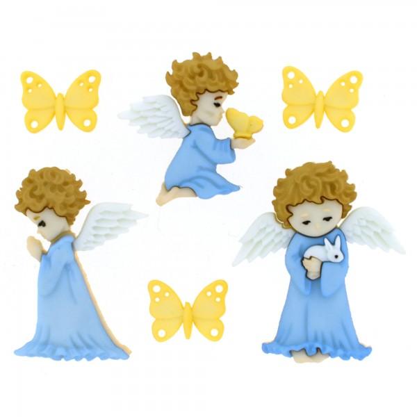 Motivknöpfe 6 Dekoknöpfe Engel Schmetterlinge