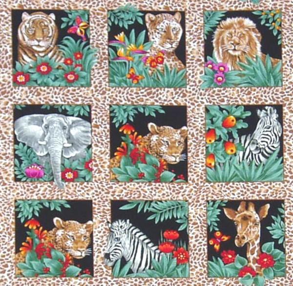 SALE 1 m Jungle Fun wilde Tiere kleine Bilder braun