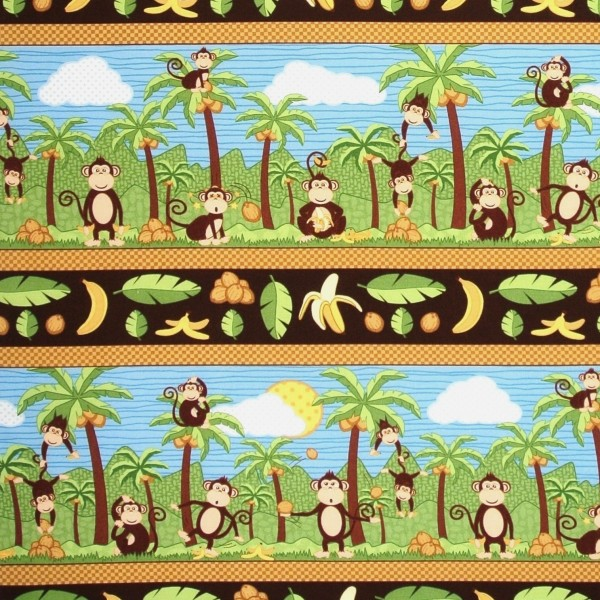 Coconut Grove Affen Äffchen Palmen Bordüren •