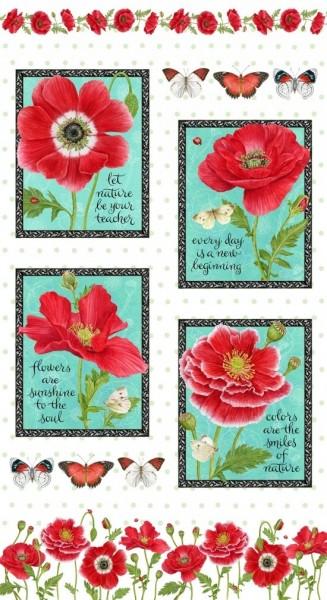 Mohnblüten Schmetterlinge Sprüche Panel