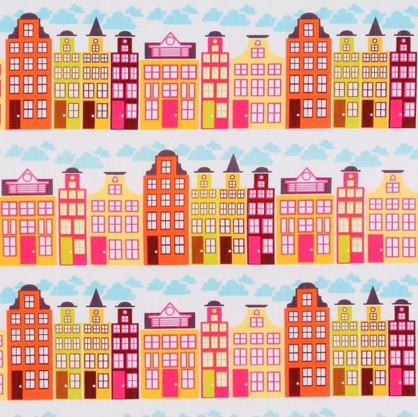 SALE Patchworkstoff Baumwollstoff City Häuser Ornamente orange