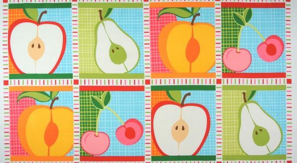 Patchworkstoff Obst Kirschen Äpfel Birnen Panel hell