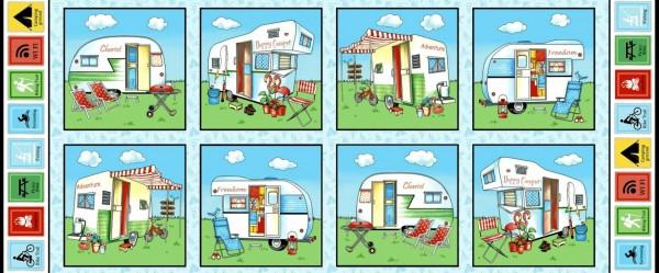 Happy Camper Camping Wohnwagen Panel