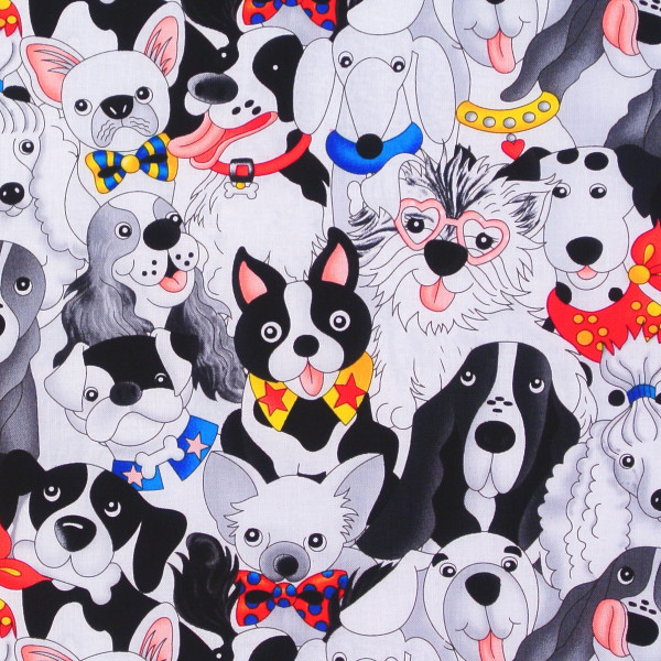 SALE Patchworkstoff witzige Hunde Comic Dogs