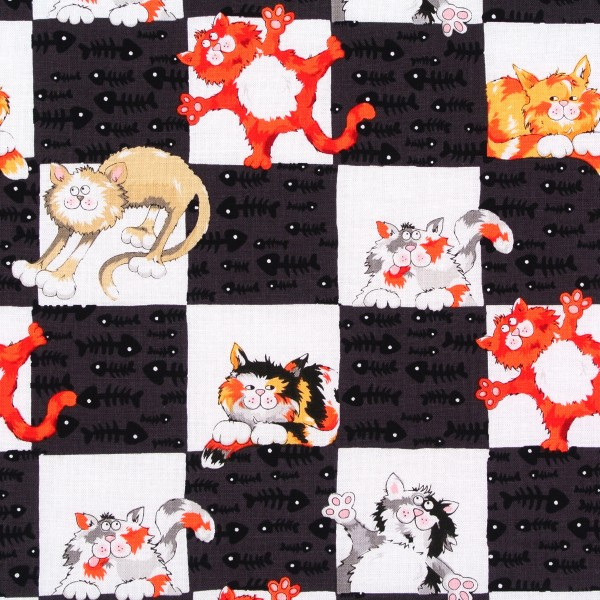 Patchworkstoff Katzen Alley Cat Katzenbilder