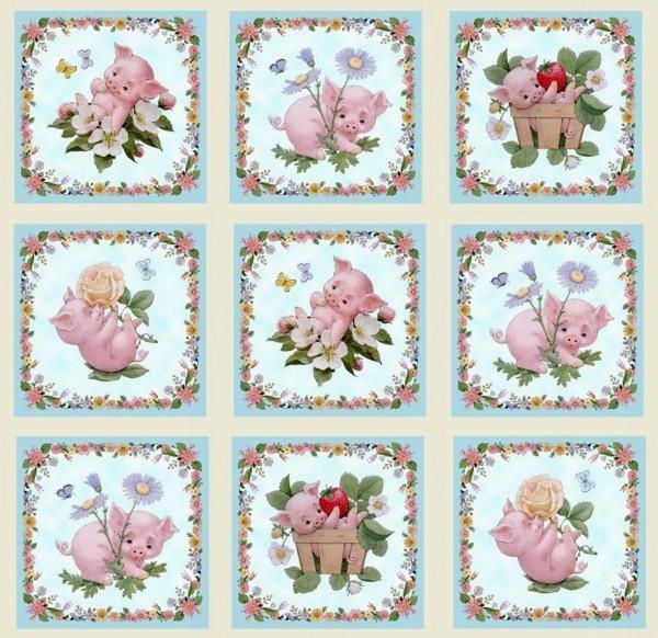 Witzige Schweine Schweinchen Blumen Panel