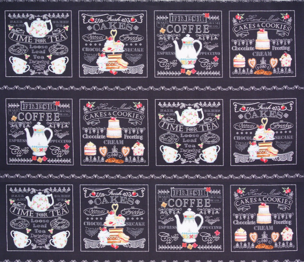 patchworkstoff kaffee tee afternoon delight panel 90 x 110