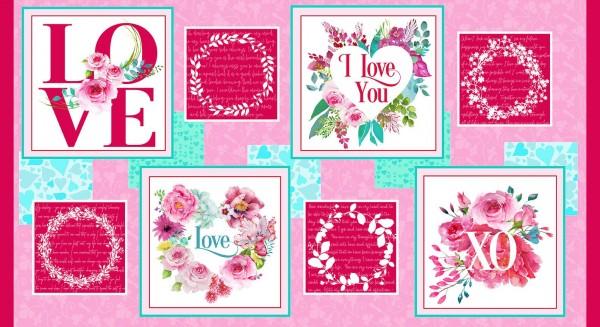 "Patchworkstoff ""Love Letters"" Panel Liebe Herzen Love"