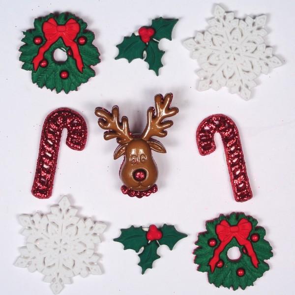 Motivknöpfe 9 Dekoknöpfe Weihnachten Deck the Halls