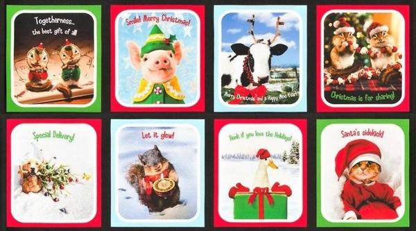 Patchworkstoff Weihnachten Santas Sidekicks Panel