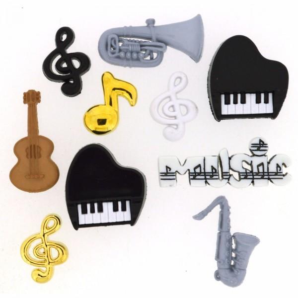 Motivknöpfe 10 Dekoknöpfe Musik Instrumente Noten