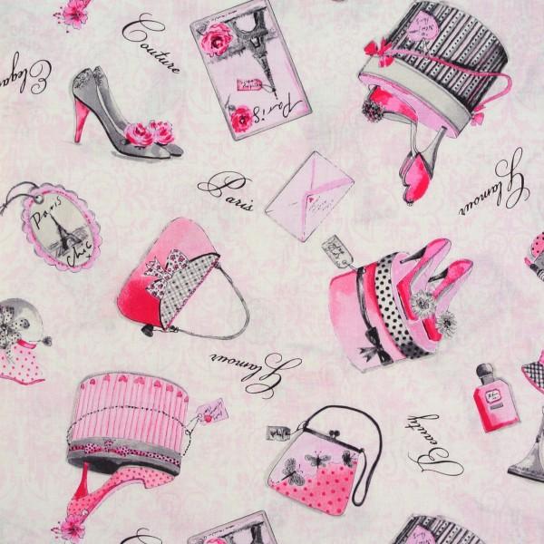 Patchworkstoff Frauen Glamour Schuhe Hüte Taschen auf Weiß