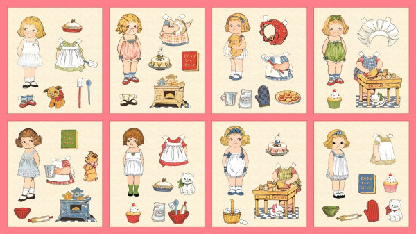 Anziehpuppen Paper Dolls Bakery Panel