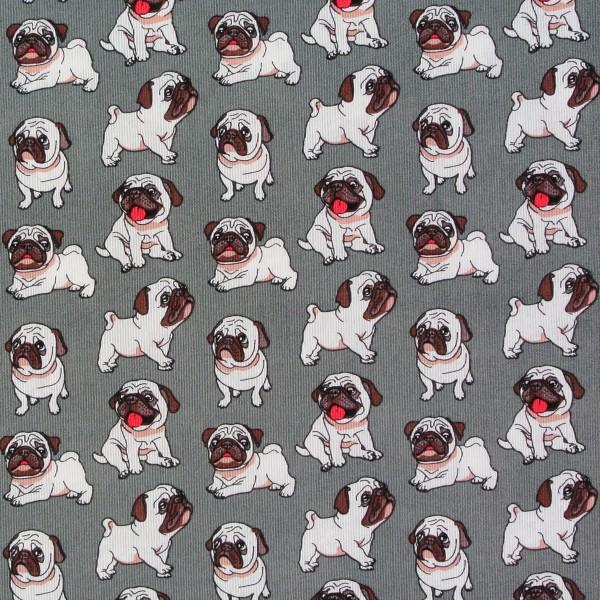 Baumwollstoff Dekostoff kleine Möpse Hunde Hundestoff grau