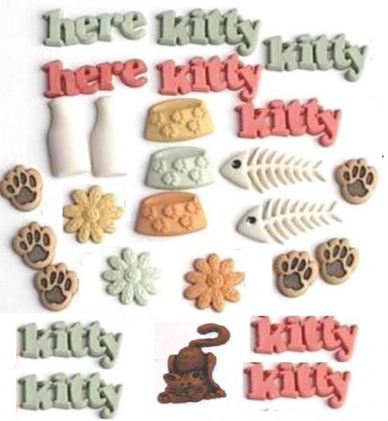 Motivknöpfe 24 Dekoknöpfe Katze Schrift Pfoten