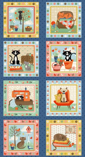 Patchworkstoff Crafty Cats Katzen Nähutensilien Panel